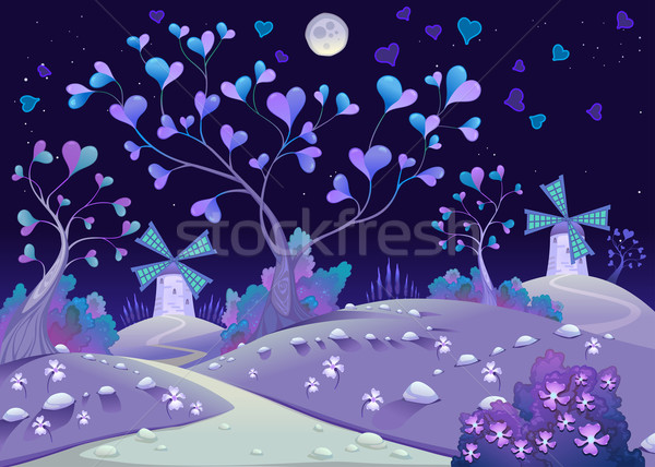 Nightly springy landscape with windmills Stock photo © ddraw