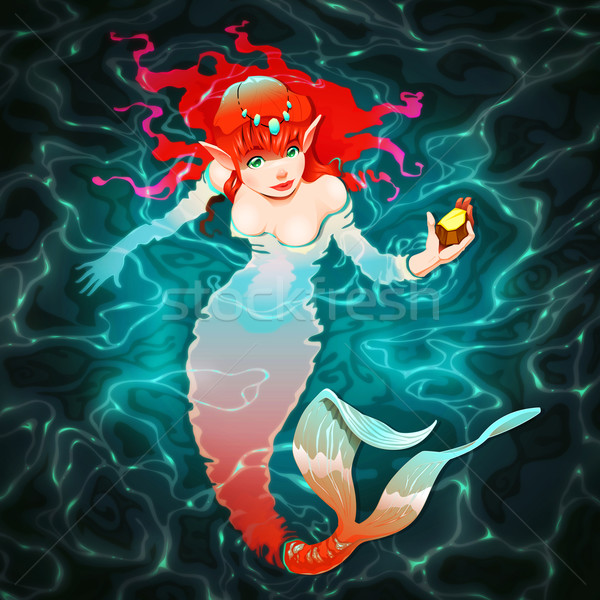 Deniz kızı su parça altın kadın balık Stok fotoğraf © ddraw