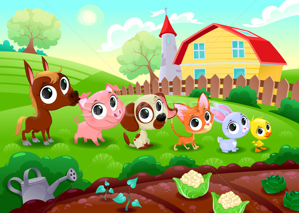 Grappig boerderijdieren tuin vector cartoon illustratie Stockfoto © ddraw