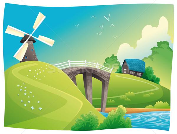 Platteland windmolen vector cartoon landschap objecten Stockfoto © ddraw