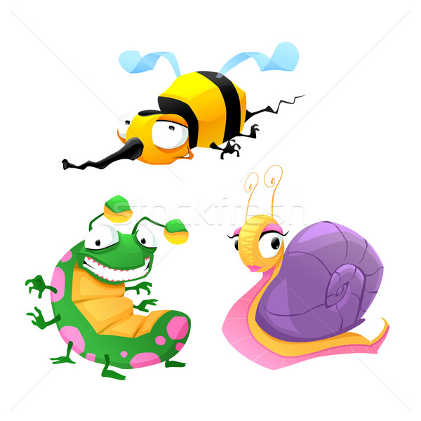 Two funny insects and one snail. Stock photo © ddraw