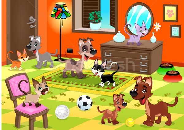 Família gatos cães casa engraçado desenho animado Foto stock © ddraw