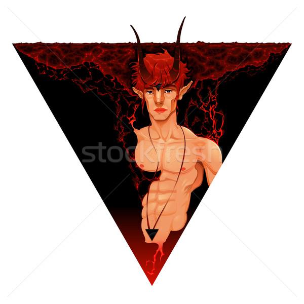 Сток-фото: мифологический · демон · огня · портрет · мышцы · цвета