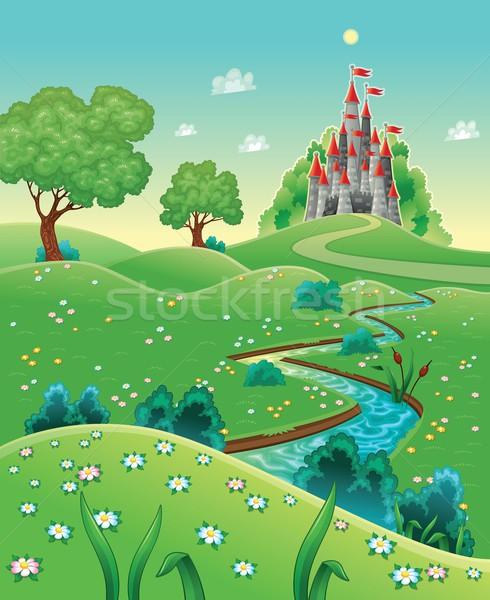 Panorama kasteel cartoon bloem voorjaar landschap Stockfoto © ddraw