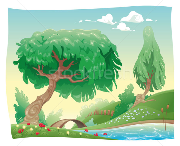Platteland vector cartoon landschap objecten geïsoleerd Stockfoto © ddraw