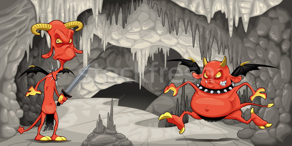 внутри пещера смешные природы горные рок Сток-фото © ddraw