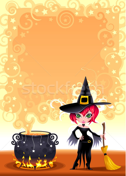 Funny witch with pot. Stock photo © ddraw