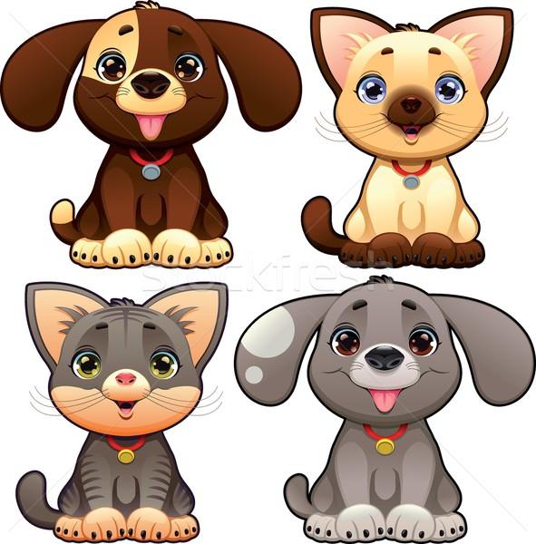 Cute honden katten grappig cartoon vector Stockfoto © ddraw