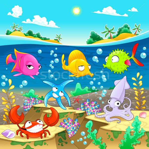 Gelukkig mariene familie zee vector cartoon Stockfoto © ddraw