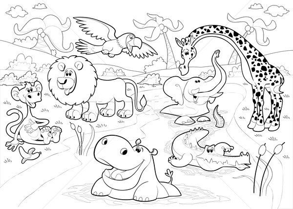 African animals in the jungle in black and white.  Stock photo © ddraw