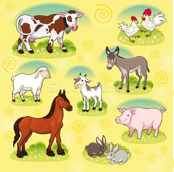 Boerderijdieren vector cartoon geïsoleerd glimlach Stockfoto © ddraw
