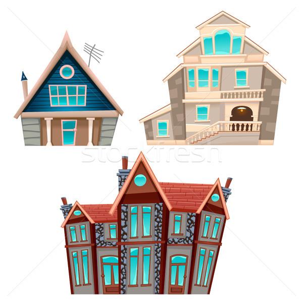Conjunto casas vetor desenho animado isolado jogos Foto stock © ddraw