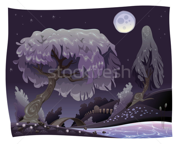 Landscape in the night with river. Stock photo © ddraw