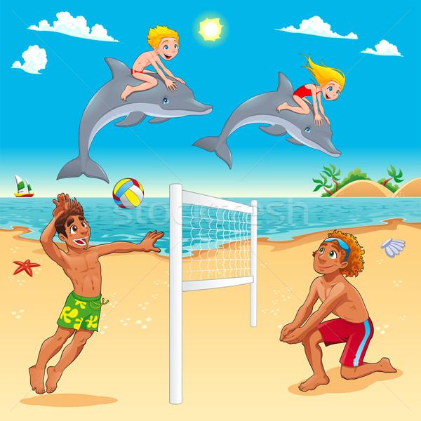 Funny lata scena delfiny plaży dziecko Zdjęcia stock © ddraw