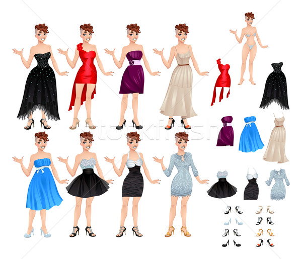 Female avatar with dresses and shoes Stock photo © ddraw