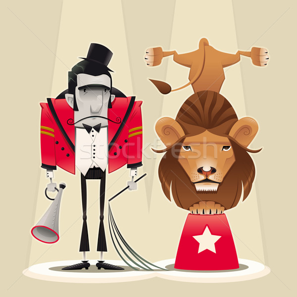 Stock photo: Lion Tamer with lion.