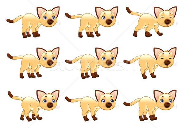 Kot spaceru ożywienie cartoon wektora pojedyncze obiekty Zdjęcia stock © ddraw