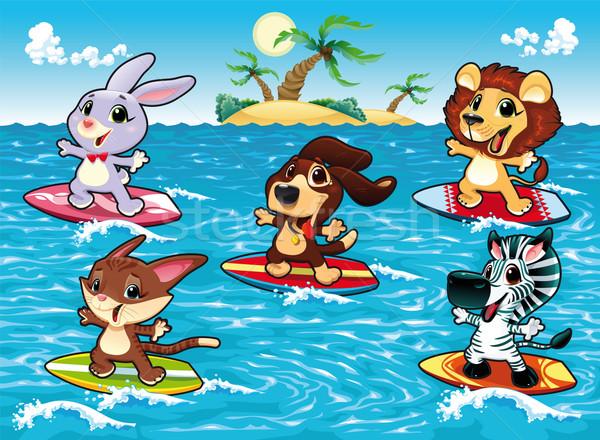 смешные животные серфинга морем Cartoon Сток-фото © ddraw