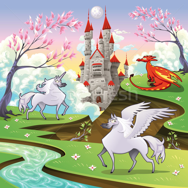 Pegasus, unicorn and dragon in a mythological landscape. Stock photo © ddraw