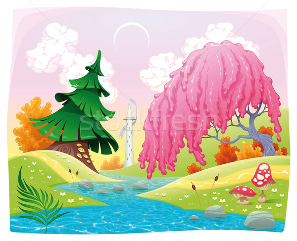 Fantasy landscape on the riverside.  Stock photo © ddraw