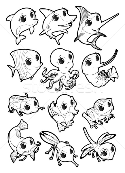 Marine animals and fauna of the pond Stock photo © ddraw