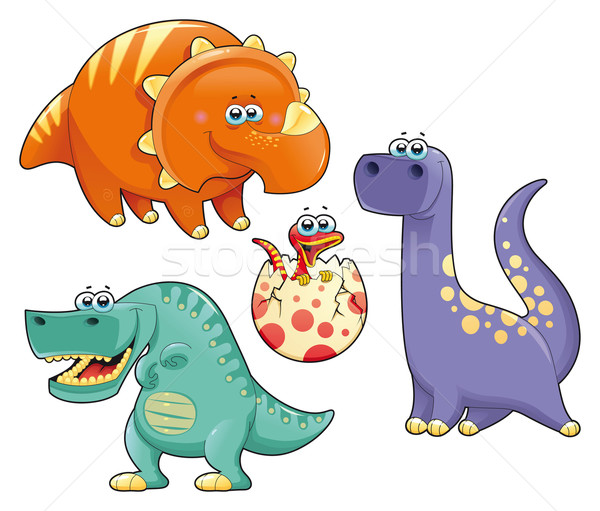Stock photo: Group of funny dinosaurs.