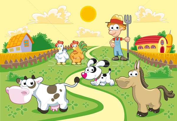 Bauernhof Familie funny Karikatur Himmel Haus Stock foto © ddraw