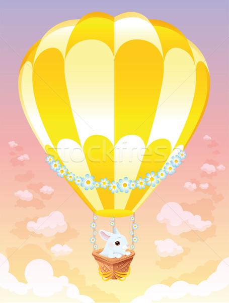 Luchtballon witte bunny cartoon bloem voorjaar Stockfoto © ddraw