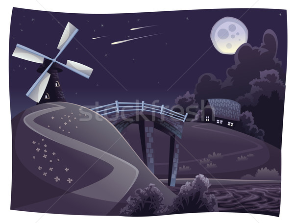 Countryside with windmill in the night. Stock photo © ddraw