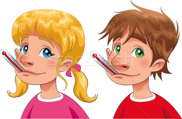 Boy and girl with thermometer. Stock photo © ddraw