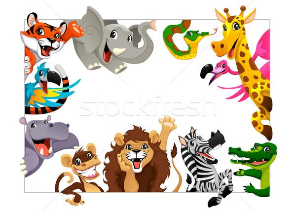 смешные группа джунгли животные Cartoon кадр Сток-фото © ddraw