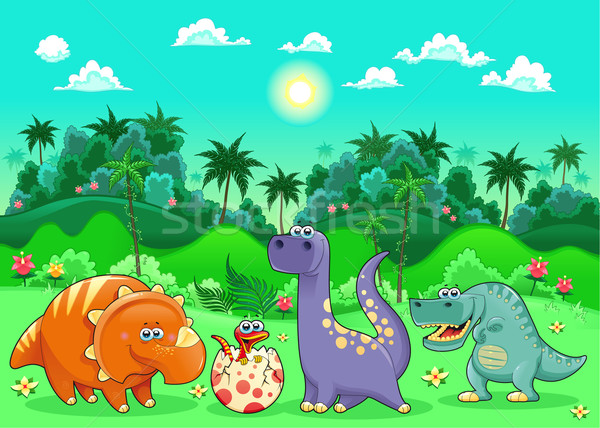Funny dinosaurs in the forest.  Stock photo © ddraw