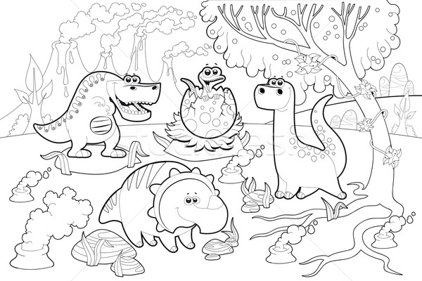 Funny dinosaurs in a prehistoric landscape, black and white. Stock photo © ddraw