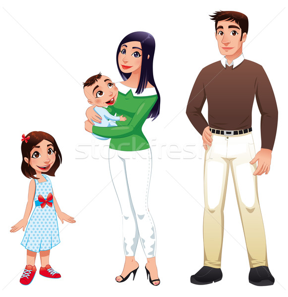Humaine famille mère père enfants cartoon Photo stock © ddraw