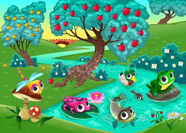Сток-фото: смешные · животные · реке · древесины · Cartoon · семьи
