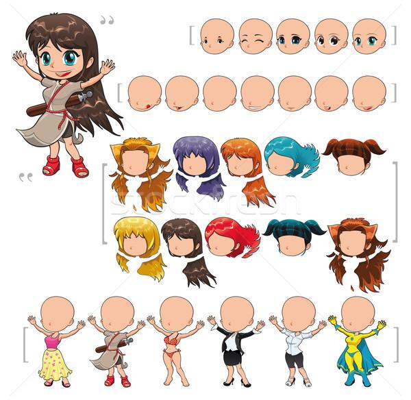 Avatar lány izolált tárgyak összes elemek karakter Stock fotó © ddraw