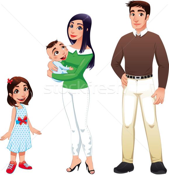 人間 家族 母親 父 子供 漫画 ストックフォト © ddraw