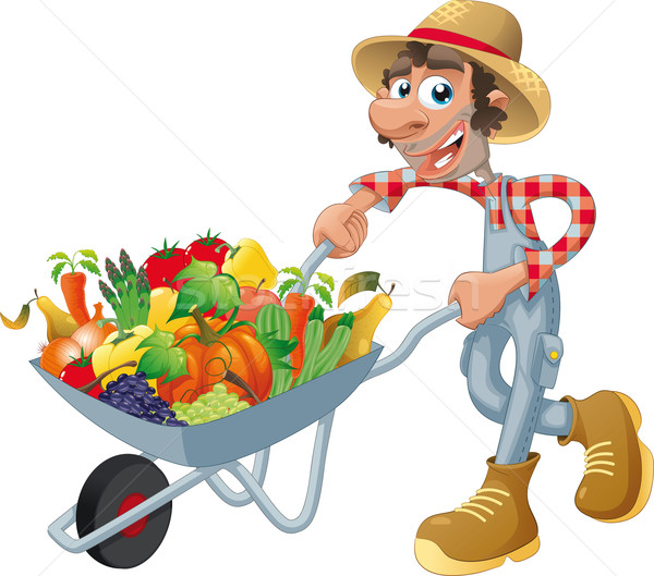 Stock photo: Peasant with wheelbarrow, vegetables and fruits.