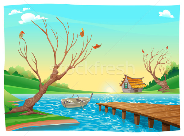 Lake with boat.  Stock photo © ddraw