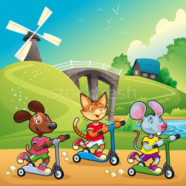 Huisdieren platteland cartoon voorjaar sport kat Stockfoto © ddraw