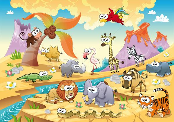 Savanne dier familie grappig cartoon geïsoleerde objecten Stockfoto © ddraw