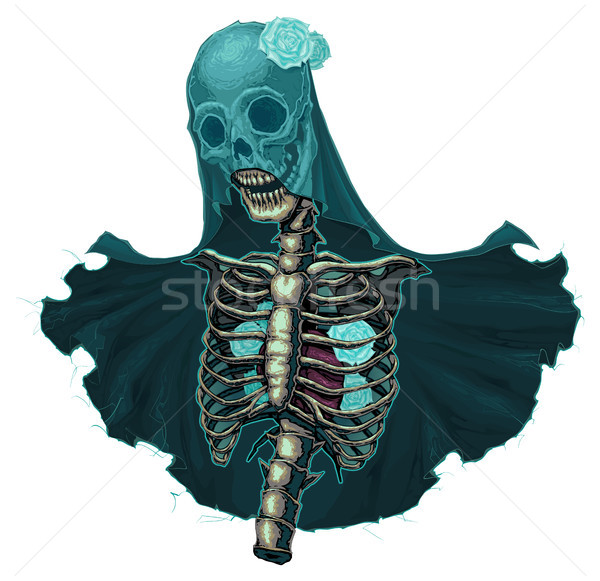 Stock photo: Skeleton with veil and white roses