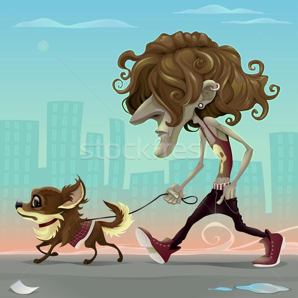 Vent hond lopen straat vector cartoon Stockfoto © ddraw