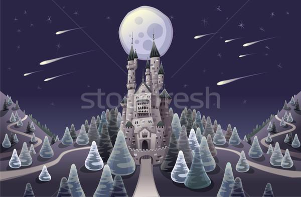 Panorama ortaçağ kale gece karikatür ağaç Stok fotoğraf © ddraw