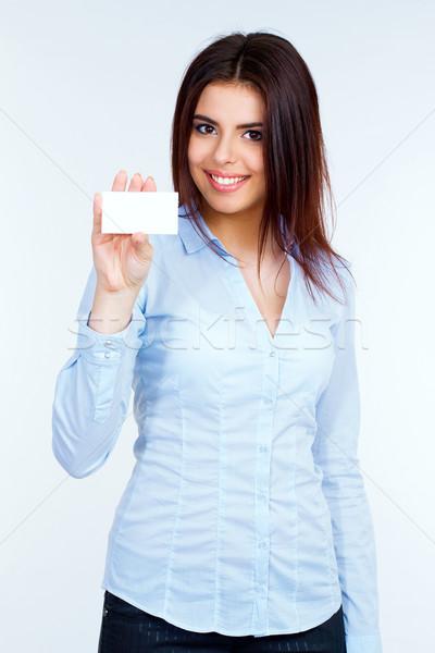 Işkadını boş kart gülümseme kız mutlu Stok fotoğraf © deandrobot