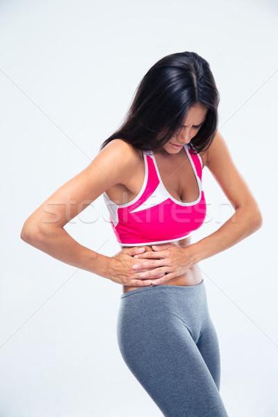 Spor kadın yan ağrı gri tıbbi Stok fotoğraf © deandrobot