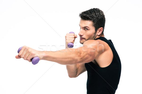 Sport homme faible haltères isolé Photo stock © deandrobot