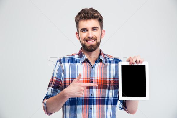 Man wijzend vinger scherm portret Stockfoto © deandrobot