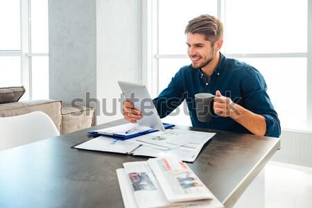 ビジネスマン 作業 表 オフィス 肖像 幸せ ストックフォト © deandrobot