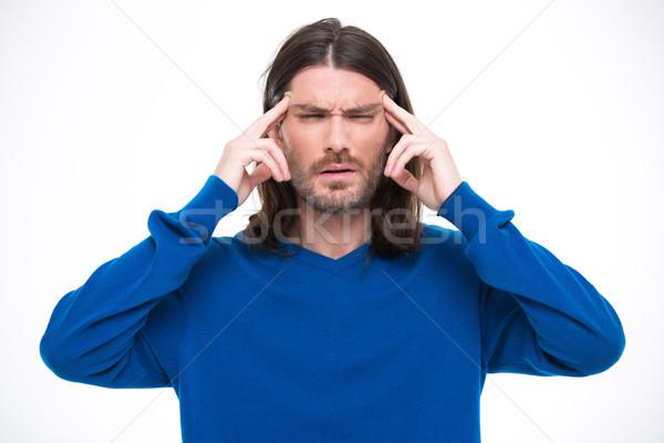 Młodych przystojny mężczyzna głowy dotknąć długie włosy niebieski Zdjęcia stock © deandrobot